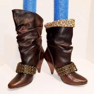 Naughty Monkey Rustic Brown Embellished Boots 7.5